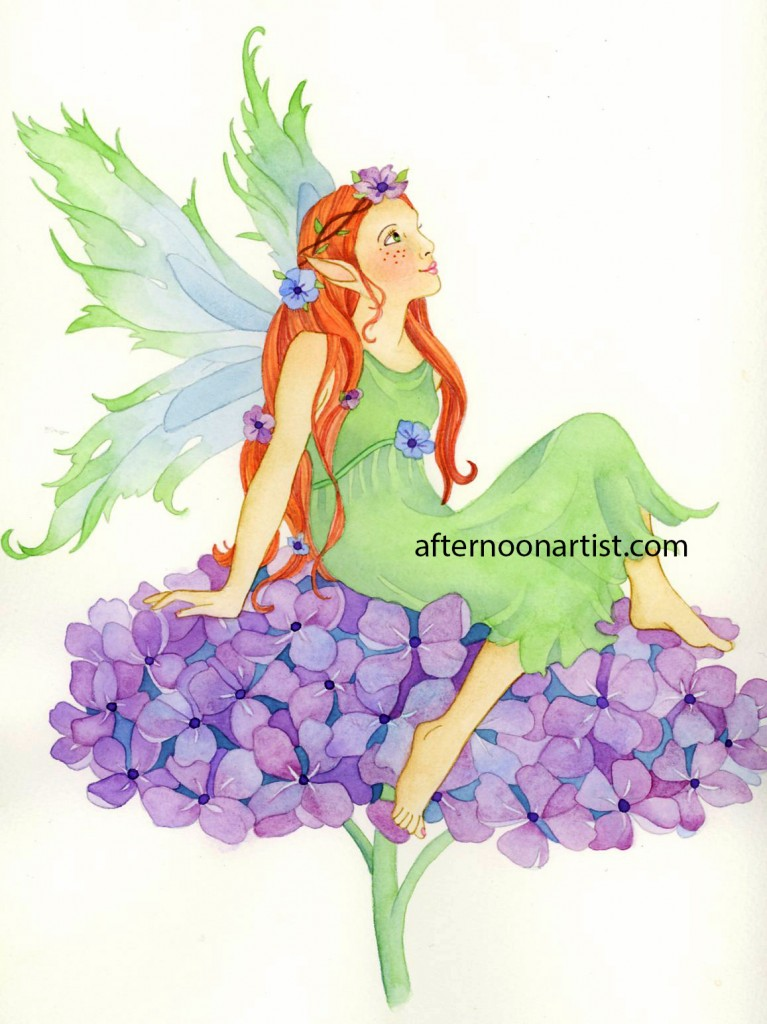 Hydrangea Fairy in Watercolor