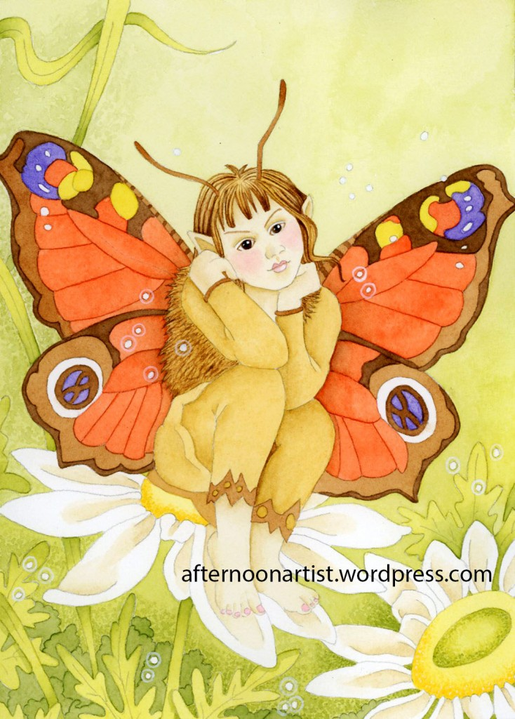 Moth Fairy in Watercolor